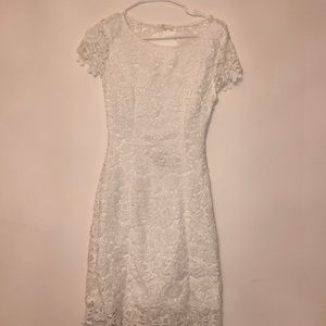 Lulu's floral lace white body con open back dress